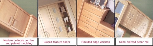 Bedroom accessories include: Modern bulnose cornice & pelment mouldings, glazed feature doors, moulded edge worktops & semi-pierced decor rails.