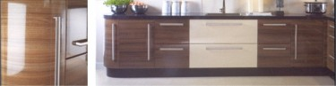 The Apollo Dark Walnut Gloss kitchen design is available from Gee's Kitchens, Bedrooms & Flooring of Kildare.