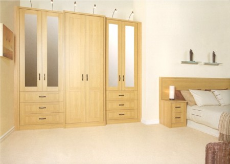 The Arcadia Lissa Oak bedroom design is available from Gee's Kitchens, Wardrobes & Flooring of Kildare
