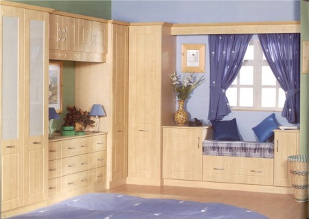 The Bowland Maple bedroom design is available from Gee's Kitchens, Wardrobes & Flooring of Kildare