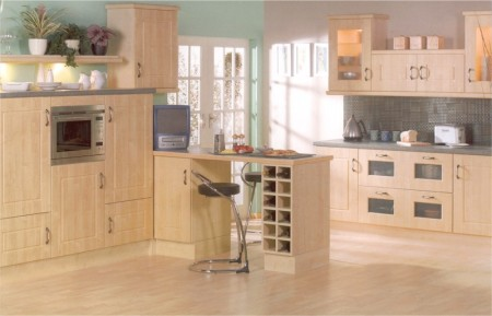 The Bowland Maple kitchen is available from from Gee's Kitchens, Bedrooms & Flooring of Kildare.