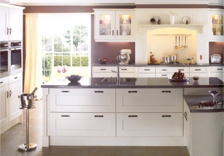The Gresham Ivory kitchen design is available from Gee's Kitchens, Bedrooms & Flooring of Kildare.