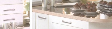 The Linea Ivory kitchen design is available from Gee's Kitchens, Bedrooms & Flooring of Kildare.