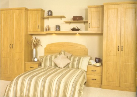 The Westport Pippy Oak bedroom design is available from Gee's Kitchens, Wardrobes & Flooring of Kildare.